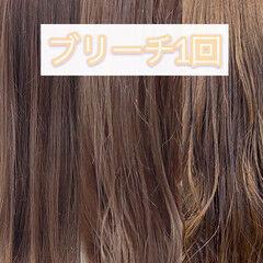 外国人風 ミディアム ミルクティーアッシュ ブリーチ ヘアスタイルや髪型の写真・画像