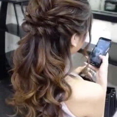 ロング 結婚式 ヘアアレンジ ハーフアップ ヘアスタイルや髪型の写真・画像