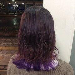 ピンクパープル ガーリー パープル ミディアム ヘアスタイルや髪型の写真・画像