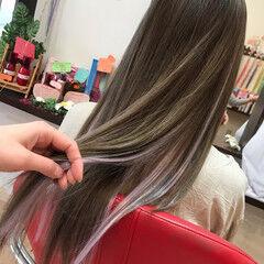 ハイトーン ハイライト パープル ガーリー ヘアスタイルや髪型の写真・画像