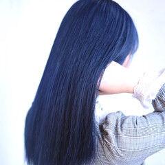 モード ネイビーカラー ネイビーブルー ダブルカラー ヘアスタイルや髪型の写真・画像