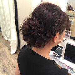 ヘアセット ガーリー ねじり セミロング ヘアスタイルや髪型の写真・画像