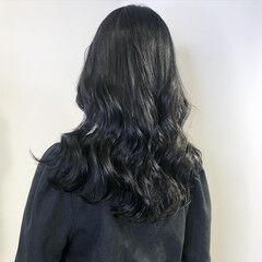ロング ネイビーブルー ダークグレー ダークカラー ヘアスタイルや髪型の写真・画像