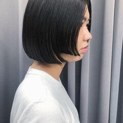 暗髪女子 暗髪 切りっぱなしボブ ボブ ヘアスタイルや髪型の写真・画像