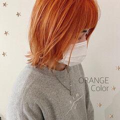 切りっぱなしボブ オレンジカラー ミディアム ストリート ヘアスタイルや髪型の写真・画像