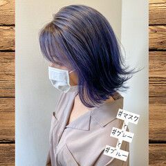ブルー モード ブリーチオンカラー グレー ヘアスタイルや髪型の写真・画像