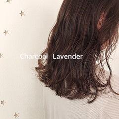 ナチュラル ラベンダーグレー 大人かわいい 大人女子 ヘアスタイルや髪型の写真・画像