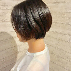 ナチュラル 暗髪 ショートボブ 暗髪女子 ヘアスタイルや髪型の写真・画像