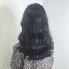 ネイビーブルー ブリーチなし ナチュラル ブルージュ ヘアスタイルや髪型の写真・画像