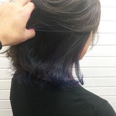 モード ミディアム インナーカラー ユニコーンカラー ヘアスタイルや髪型の写真・画像