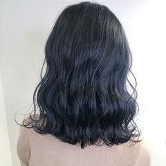 ダークカラー ネイビーブルー 暗髪女子 ナチュラル ヘアスタイルや髪型の写真・画像