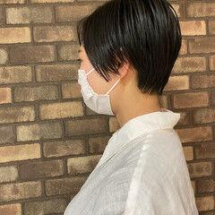 ショート ナチュラル 前髪なし ハンサムショート ヘアスタイルや髪型の写真・画像