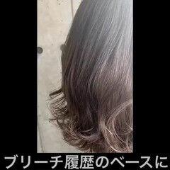 透明感カラー ミディアム グレー グレージュ ヘアスタイルや髪型の写真・画像