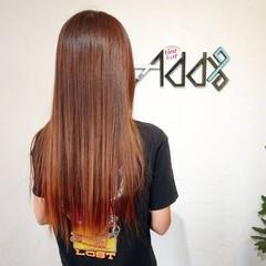 韓国 バレイヤージュ 裾カラー 裾カラーオレンジ ヘアスタイルや髪型の写真・画像
