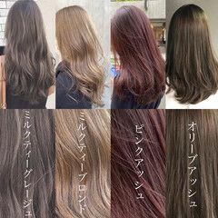 オリーブアッシュ ロング ミルクティーグレージュ イルミナカラー ヘアスタイルや髪型の写真・画像