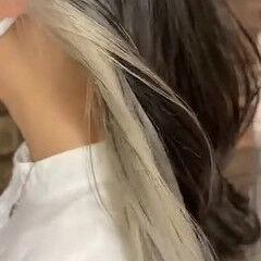 透明感 セミロング ナチュラル ホワイトベージュ ヘアスタイルや髪型の写真・画像