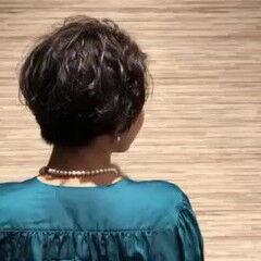 コンサバ ショート ショートボブ パーマ ヘアスタイルや髪型の写真・画像