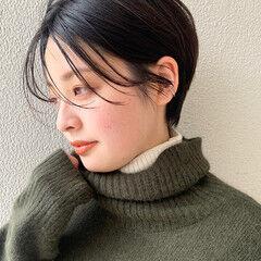 ナチュラル ショート ショートヘア 暗髪 ヘアスタイルや髪型の写真・画像