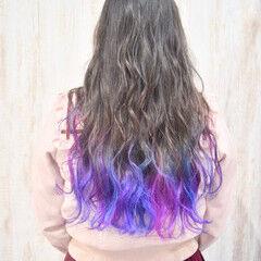 裾カラー 春色 ピンク 青紫 ヘアスタイルや髪型の写真・画像