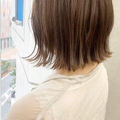 モカブラウン ボブ ココアブラウン うる艶カラー ヘアスタイルや髪型の写真・画像