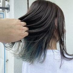 セミロング ブリーチ必須 ちょろん 3Dハイライト ヘアスタイルや髪型の写真・画像