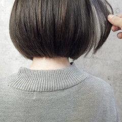 ミニボブ アッシュ ナチュラル アンニュイほつれヘア ヘアスタイルや髪型の写真・画像