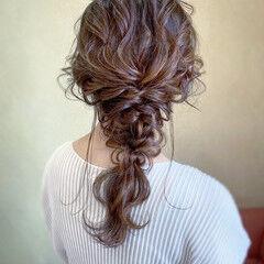 ロング 編みおろし 大人かわいい ヘアアレンジ ヘアスタイルや髪型の写真・画像