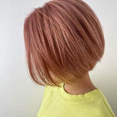 ピンク ボブ ストリート パールピンク ヘアスタイルや髪型の写真・画像