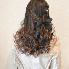 結婚式 ヘアセット リボン フェミニン ヘアスタイルや髪型の写真・画像