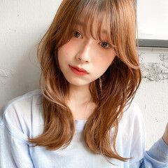 暖色 ベージュカラー ミディアム ミルクティーベージュ ヘアスタイルや髪型の写真・画像