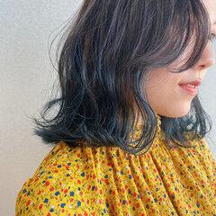グラデーションカラー モード ミディアム ネイビー ヘアスタイルや髪型の写真・画像