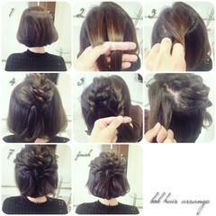 ボブ 編み込み 簡単ヘアアレンジ ツイスト ヘアスタイルや髪型の写真・画像