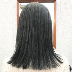 エレガント ロブ 透明感カラー グレージュ ヘアスタイルや髪型の写真・画像