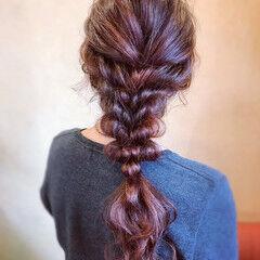 フェミニン 編みおろし 逆りんぱ 簡単ヘアアレンジ ヘアスタイルや髪型の写真・画像
