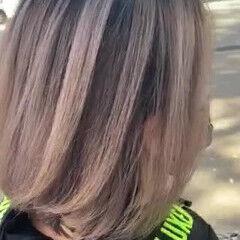 モード ホワイトベージュ バレイヤージュ ホワイトハイライト ヘアスタイルや髪型の写真・画像