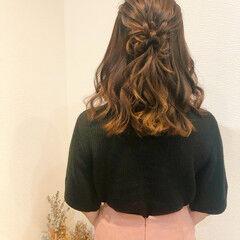 ヘアセット ヘアアレンジ ミディアム ハーフアップ ヘアスタイルや髪型の写真・画像