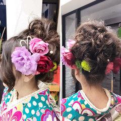 ロング 花 ヘアアレンジ アップスタイル ヘアスタイルや髪型の写真・画像
