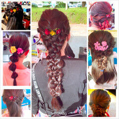 編みおろしヘア オシャレ ロング 簡単ヘアアレンジ ヘアスタイルや髪型の写真・画像