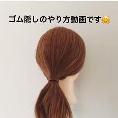 簡単ヘアアレンジ ヘアアレンジ ポニーテール ミディアム ヘアスタイルや髪型の写真・画像