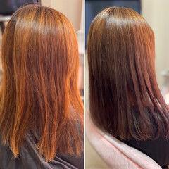 コーラルピンク 3Dハイライト セミロング 髪質改善カラー ヘアスタイルや髪型の写真・画像