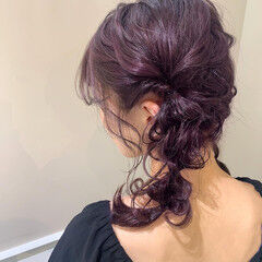 パープルアッシュ ガーリー ふわふわヘアアレンジ ラベンダーアッシュ ヘアスタイルや髪型の写真・画像