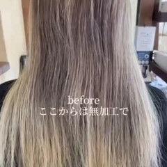 バレイヤージュ エレガント 大人ハイライト ブリーチカラー ヘアスタイルや髪型の写真・画像