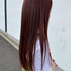 モーブ チェリーレッド 赤髪 暖色 ヘアスタイルや髪型の写真・画像