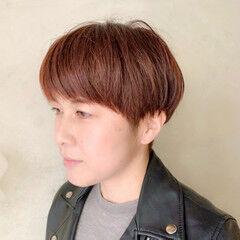 大人カジュアル モード オレンジベージュ ショート ヘアスタイルや髪型の写真・画像
