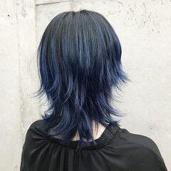 ミディアム 外ハネ モード グラデーションカラー ヘアスタイルや髪型の写真・画像