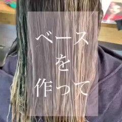 バレイヤージュ グレージュ モノトーン ロング ヘアスタイルや髪型の写真・画像