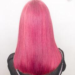 ブリーチ ハイトーン デザインカラー ピンク ヘアスタイルや髪型の写真・画像