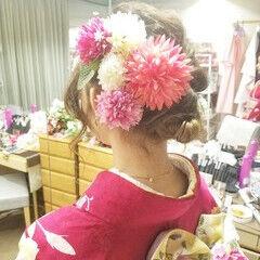 ガーリー ミディアム 和装 結婚式 ヘアスタイルや髪型の写真・画像