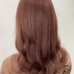 ガーリー 巻き髪 春色 ミディアム