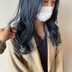 ネイビーカラー ロング ネイビー コリアンネイビー ヘアスタイルや髪型の写真・画像